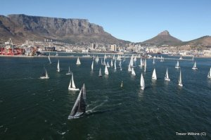 Yachts leaving Table Bay
